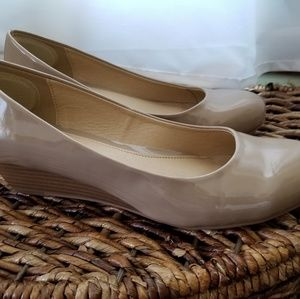 Shoes - CL Laundry patent nude wedges